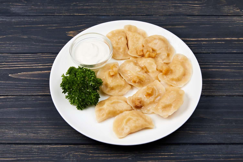 Вареники (картопля,капуста,лівер,гриби,сир,вишні), 300 г.